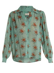 Masscob Gathered Floral Print Silk Blouse Green