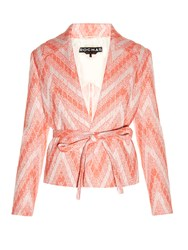 Rochas Chevron Woven Tweed Jacket Red White