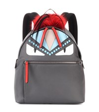 Fendi Fur And Leather Embellished Backpack Grey