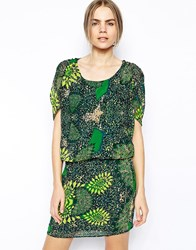 Selected Filicia Short Sleeved Dress In Print Printed Green