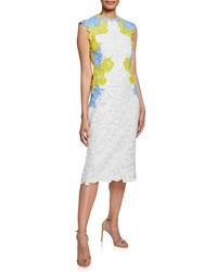 Lela Rose Lace Applique Fitted Sheath Dress White Pattern