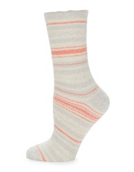 Free People Striped Plush Crew Socks Ivory Combo