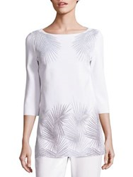 St. John Metallic Palm Print Tunic