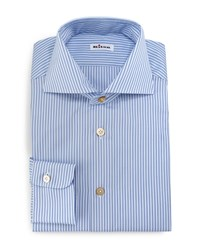 Kiton Alternating Stripe Button Down Sport Shirt Blue White