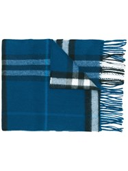 Burberry Housecheck Scarf Men Cashmere One Size Blue