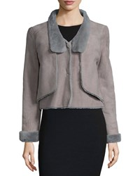 Halston Long Sleeve Shearling Short Jacket Charcoal Grey