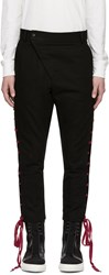 D.Gnak By Kang.D Black And Red Straight String Trousers