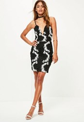 Missguided Black Lace Sweetheart Mono Strappy Dress Monochrome