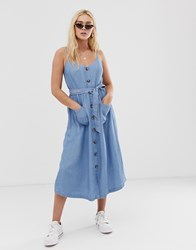 Only Chambray Button Through Midi Dress Blue