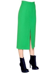 Marco De Vincenzo High Waisted Double Wool Crepe Skirt
