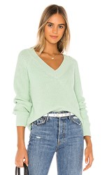 525 America Cropped V Neck Sweater In Mint. Pale Mint