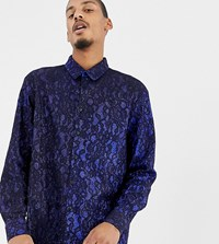 Milk It Vintage Shirt In Glitter And Lace Reg Fit Navy