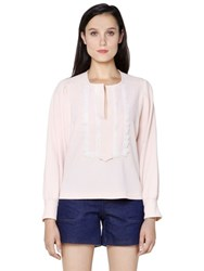 See By Chloe Stretch Crepe Top With Lace Detail