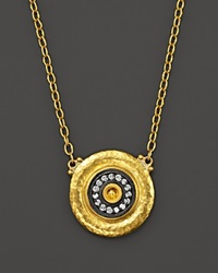 Gurhan 24K Yellow Gold And Sterling Silver Moonbeam Dome Disc Pendant Necklace With Diamonds 15
