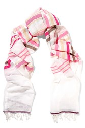 Lemlem Zare Striped Cotton Blend Gauze Scarf White