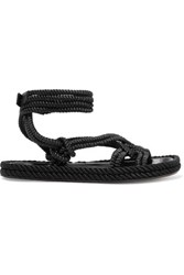 Isabel Marant Lou Leather Trimmed Braided Cord Sandals Black