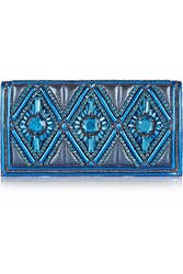 Balmain Embellished Metallic Leather And Lame Clutch Blue