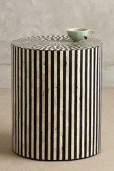 Anthropologie Rounded Inlay Side Table Black And White