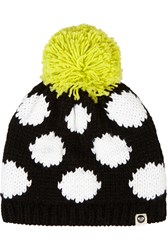 House Of Holland Roxy Polka Dot Knitted Hat Black