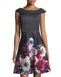 Neiman Marcus Floral Print Fit And Flare Dress Multi