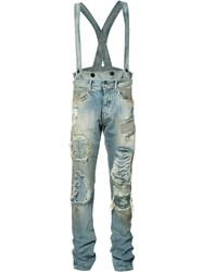 Faith Connexion Distressed Dungaree Jeans Blue