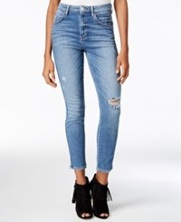 Guess High Rise Medium Wash Ripped Skinny Jeans