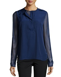 Reed Krakoff Long Sleeve Baseball Henley Blouse Cobalt