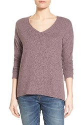Women's Gibson 'Yummy Fleece' High Low V Neck Pullover Purple Shake
