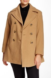 Kenneth Cole Wool Blend Peacoat Plus Size Beige