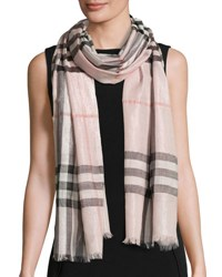 Burberry Metallic Gauze Giant Check Scarf Rose