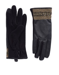Lauren Ralph Lauren Metallic Lace And Leather Touch Gloves Black
