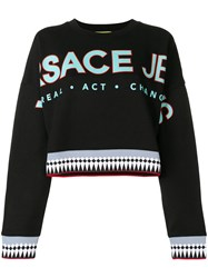 Versace Jeans Logo Patch Sweatshirt Black