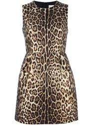 Red Valentino Leopard Print Dress Brown