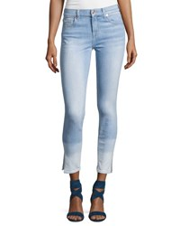 7 For All Mankind The Ankle Skinny Ocean Breeze Jeans W Side Slit Indigo