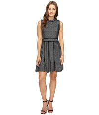 Adelyn Rae Fit And Flare Dress With Black Trim Black Ivory Women's Dress