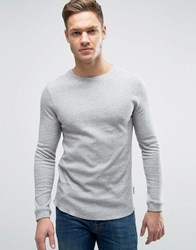 Bellfield Muscle Fit Long Sleeve T Shirt In Waffle Grey Marl