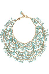 Rosantica Gold Dipped Turquoise Multi Strand Necklace Blue
