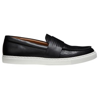Whistles Daphne Leather Slip On Trainers Black Leather