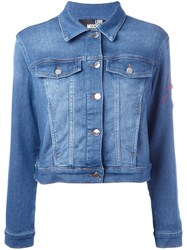 Love Moschino Heart Patch Denim Jacket Blue