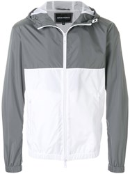Emporio Armani Panelled Rain Jacket Grey