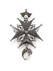 Alexander Mcqueen 2 13Mm Freshwater Pearl And Crystal Cross Medallion Pendant Brooch Pearl Grey
