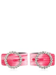 Attico Velvet Ankle Cuffs W Crystal Buckle Pink