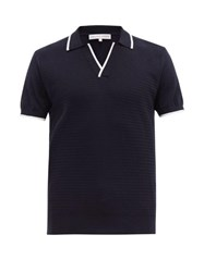 Orlebar Brown Horton Cotton Knit Polo Shirt Navy