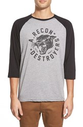 Men's Athletic Recon 'Destroyer Cat' Graphic Three Quarter Raglan Baseball T Shirt