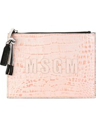 Msgm Snakeskin Clutch Pink And Purple