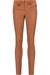 Halston Stretch Leather Skinny Pants Brown