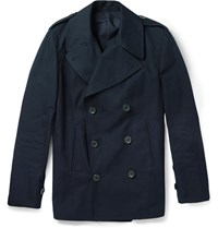 Dunhill Double Breasted Cotton Peacoat Blue