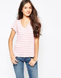 Sundry Striped V Neck T Shirt Pink