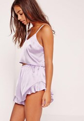 Missguided Purple Cropped Cami Pajama Set Lilac