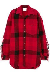 Vetements Oversized Fringed Checked Wool Blend Flannel Shirt Tomato Red
